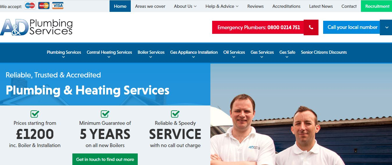 A&D Plumbing Services' Homepage