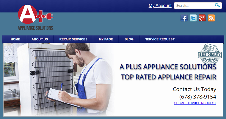 A Plus Appliance Solutions' Homepage