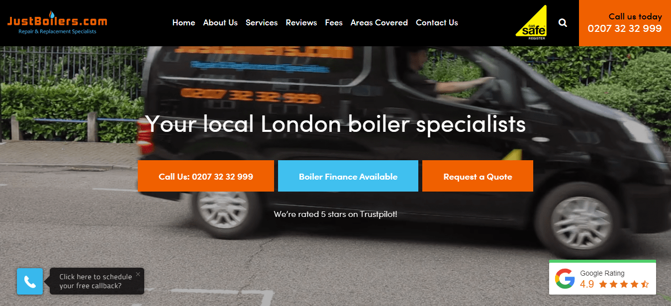 JustBoilers.com's Homepage